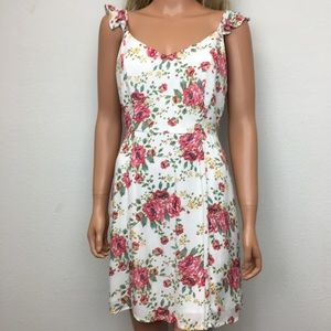WAYF Ivory Floral Tie Back Sundress